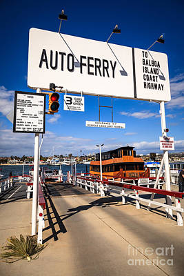 Balboa Island Auto Ferry In Newport Beach California Art Print