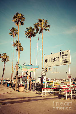 Nostalgic Sign Photograph - Balboa Island Ferry Nostalgic Vintage Picture by Paul Velgos
