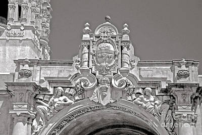 Photograph - Balboa Park Entrance Architecture Black And White by Claudia Ellis