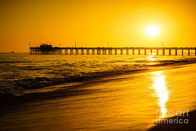 Balboa Pier Sunset In Orange County California Picture Art Print by Paul Velgos