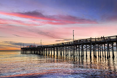 Balboa Pier Sunset Art Print by Kelley King