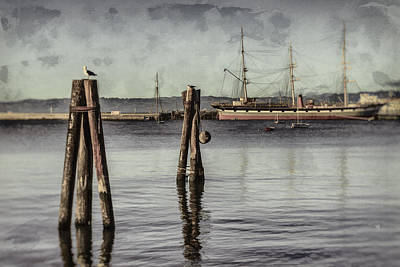 Anchor Photograph - Balclutha At Anchor 1886 by Scott Campbell