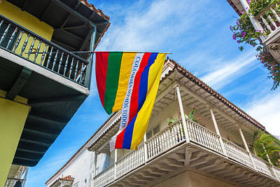Balconies And Flags Print by Jess Kraft