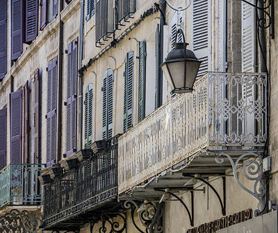 Photograph - Balconies And Street Lamp Avignon France by Bob Coates