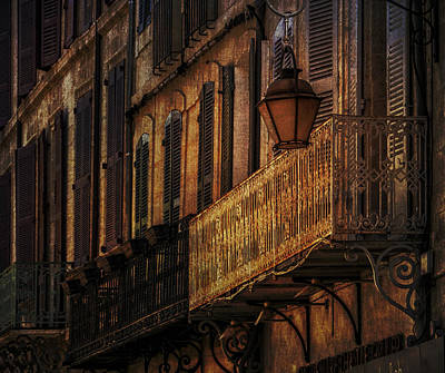 Photograph - Balconies And Street Lamp Avignon France Number Two by Bob Coates