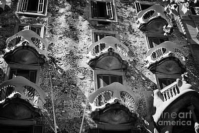 balconies on casa batllo modernisme style building in Barcelona Catalonia Spain Art Print