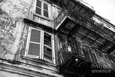 Photograph - Balcony And Windows Mono by John Rizzuto