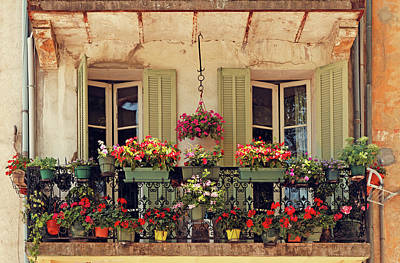 Balcony Photograph - Balcony Decorated With Flowers by Mammuth