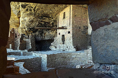 Digital Art - Balcony House Window View At Mesa Verde National Park Anasazi Ruins Poster Edges by Shawn O'Brien