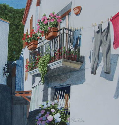Mixed Media - Balcony In Maratea by Constance DRESCHER