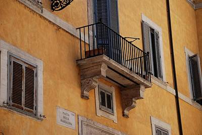 Art Print featuring the photograph Balcony Piazza Della Madallena In Roma by Dany Lison
