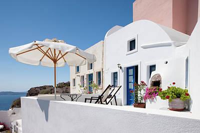 Balcony Photograph - Balcony Terrace, Oia, Santorini, Greece by David Clapp