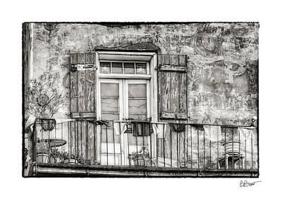 Balcony View In Black And White Art Print