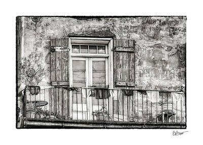 Balcony View In Black And White Art Print by Brenda Bryant
