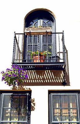 Balcony With Flower Print by Bener Kavukcuoglu