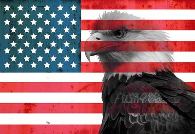 White And Blue Mixed Media - Bald Eagle American Flag by Dan Sproul