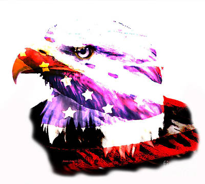 Painting - Bald Eagle And American Flag by Annie Zeno