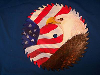 Saw Blades Painting - Bald Eagle And American Flag by Kathleen Luther