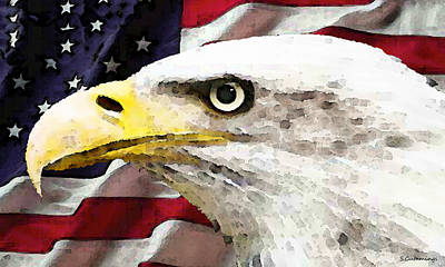 Eagle Painting - Bald Eagle Art - Old Glory - American Flag by Sharon Cummings
