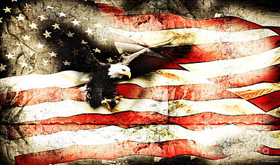 Print featuring the photograph Bald Eagle Bursting Thru Flag by Eleanor Abramson