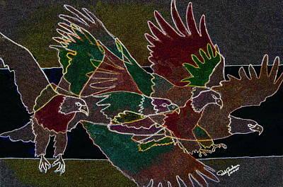 Talons Mixed Media - Bald Eagle Contours by Dale Jackson
