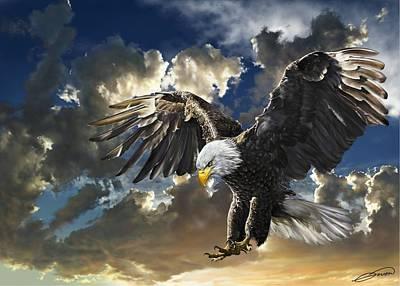 Digital Art - Bald Eagle Haliaeetus Leucocephalus by Owen Bell