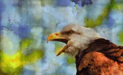 Eagle Mixed Media - Bald Eagle Portrait by Dan Sproul
