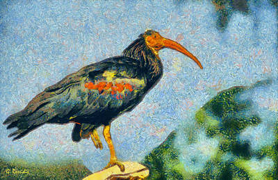 Fauna Painting - Bald Ibis by George Rossidis