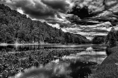 Black And White Photograph - Bald Mountain Pond - Old Forge by David Patterson