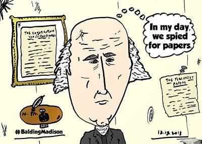 Editorial Cartoon Mixed Media - Balding President James Madison Comic by OptionsClick BlogArt