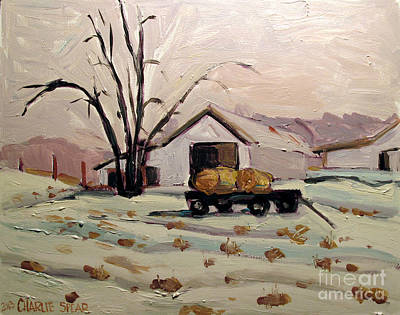 Indiana Landscapes Painting - Bale Wagon  by Charlie Spear