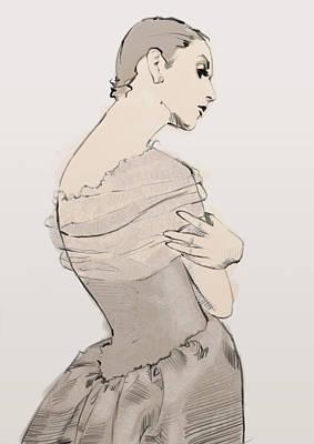 Silk Drawing - Balenciaga by H James Hoff