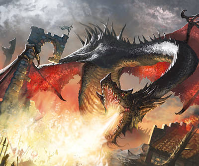 Fantasy Wall Art - Digital Art - Balerion The Black by Ryan Barger