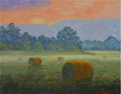 Haybales Painting - Bales At Dawn by Tommy Thompson