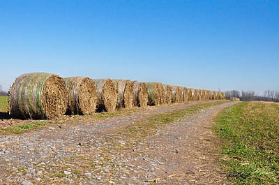 Bales Of Hay On An Old Farm Road Print by Bill Cannon