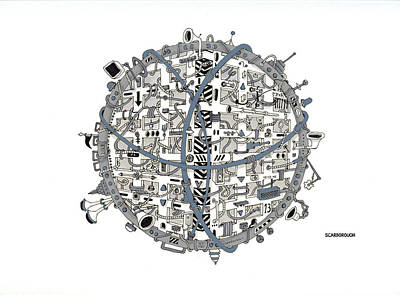 Electronics Drawing - Ball 13.00 by Larry Scarborough