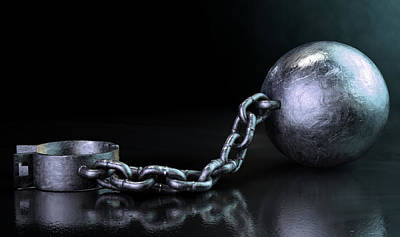 Freedom Struggle Digital Art - Ball And Chain Dark by Allan Swart