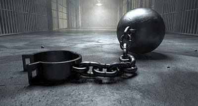 Ball And Chain In Prison Art Print by Allan Swart