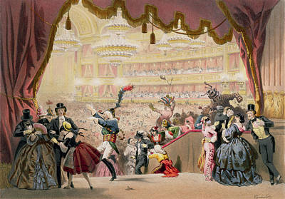 Ballroom Drawing - Ball At The Opera by Eugene Charles Francois Guerard