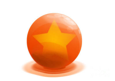 Sculpture - orange Ball decorated with star white background by R Muirhead Art
