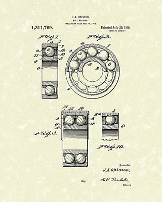 Balls Drawing - Ball Bearing 1919 Patent Art by Prior Art Design
