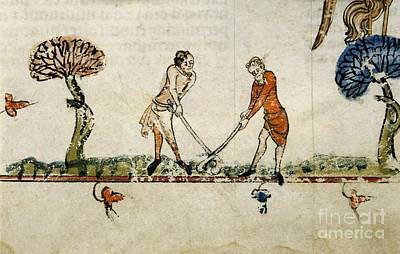Art Of Hockey Photograph - Ball Game, 14th-century Manuscript by British Library