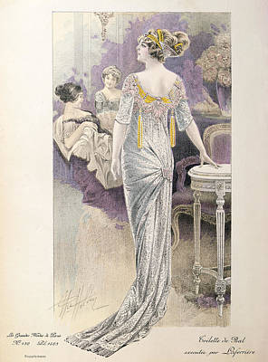 Evening Dress Drawing - Ball Gown by French School