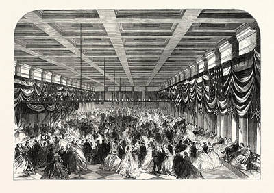 President Lincoln Drawing - Ball In Honour Of President Lincoln In The Great Hall by English School