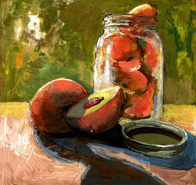 Painting - Ball Jar And Peachers by Daniel Bonnell