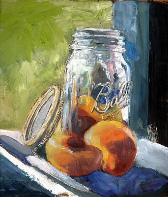 Ball Jar And Peaches Art Print