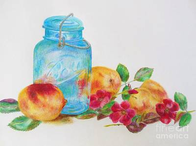 Ball Jar And Peaches Art Print by Jackie Hill