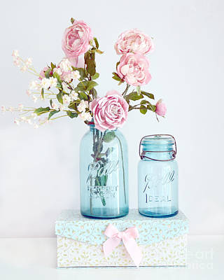 Shabby Chic Romantic Photograph - Roses In Ball Jars Aqua Dreamy Shabby Chic Floral Cottage Chic Pink Roses In Vintage Blue Ball Jars  by Kathy Fornal