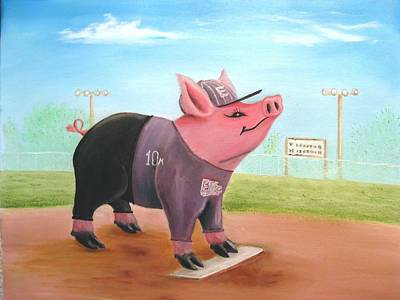Softball Painting - Ball Pig With Attitude by Bobby Perkins