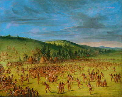Ball-play Of The Choctaw--ball Up Print by George Catlin